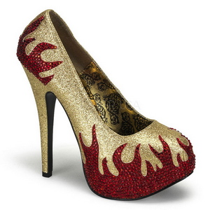 Arany Csillogó Kövekkel 14,5 cm Burlesque TEEZE-27 női cipők a magassarkű