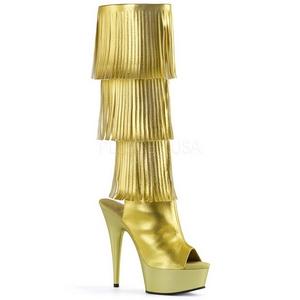 Arany Műbőr 15 cm DELIGHT-2019-3 női rojtos csizma a magassarkű