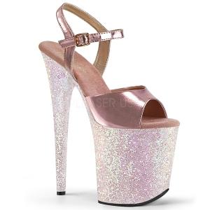 Arany csillámos 20 cm Pleaser FLAMINGO-809LG rúdtánc magassarkú cipő