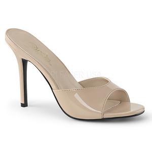 Bézs 10 cm CLASSIQUE-01 alacsony sarkú női papucs