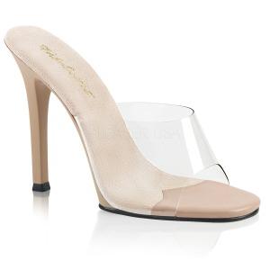 Bézs 11,5 cm FABULICIOUS GALA-01 alacsony sarkú női papucs