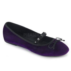 Bíbor Bársony DEMONIA DRAC-07 Balerina lapos sarkú női cipők