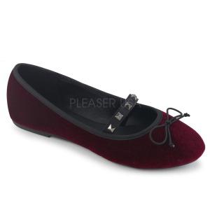 Burgundia Bársony DEMONIA DRAC-07 Balerina lapos sarkú női cipők
