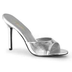 Ezüst 10 cm CLASSIQUE-01 alacsony sarkú női papucs