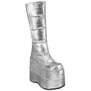 Ezüst Glitter 18 cm STACK-301G demonia csizma - unisex cyberpunk csizma