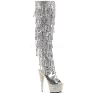 Ezüst Műbőr 18 cm BEJRSF-7 női rojtos csizma a magassarkű