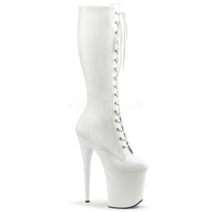 Fehér Műbőr 20 cm FLAMINGO-2023 női füzös csizma magassarkű