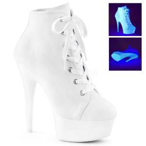 Fehér Neon 15 cm DELIGHT-600SK-02 vászon magassarkú tornacipő