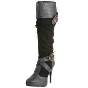 Fekete 11,5 cm CARRIBEAN-216 női csatos csizma a magassarkű