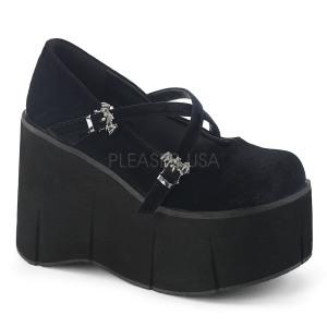 Fekete Bársony 11,5 cm KERA-10 Platform Gótikus Cipők