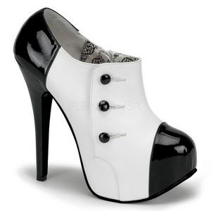 Fekete Fehér 14,5 cm Burlesque TEEZE-20 női cipők a magassarkű