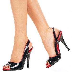 Fekete Lakk 13 cm SEDUCE-117 Női Szandál Magas Cipők