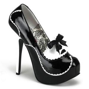 Fekete Lakk 14,5 cm Burlesque BORDELLO TEEZE-01 Platform Körömcipők