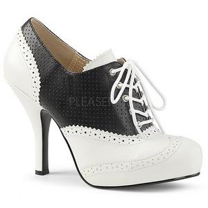 Fekete Műbőr 11,5 cm PINUP-07 nagy méretek oxford cipők