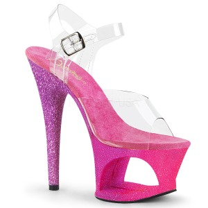 Fukszia csillámos 18 cm Pleaser MOON-708OMBRE rúdtánc magassarkú cipő