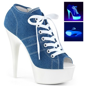 Kék Neon 15 cm DELIGHT-600SK-01 vászon magassarkú tornacipő