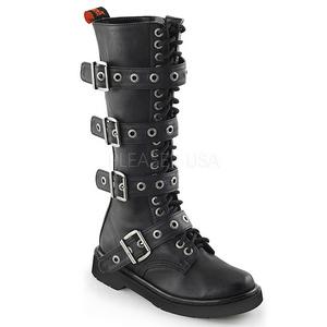 Műbőr 3,5 cm RIVAL-404 Fekete punk fűzős csizma
