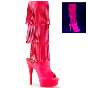 Neon Műbőr 15 cm DELIGHT-2019-3 női rojtos csizma a magassarkű