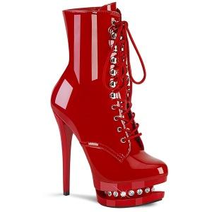 Piros 15,5 cm BLONDIE-R-1020 női platform bokacsizma lakk