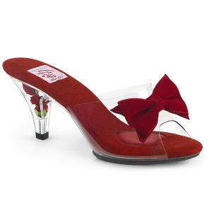 Piros 7,5 cm BELLE-301BOW Pinup papucs a csokornyakkendő