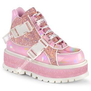 Vegan 5 cm SLACKER-50 alternatív glitter cipők platformos rózsaszín