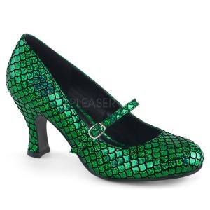 Zöld 7,5 cm MERMAID-70 körömcipők alacsony sarkú