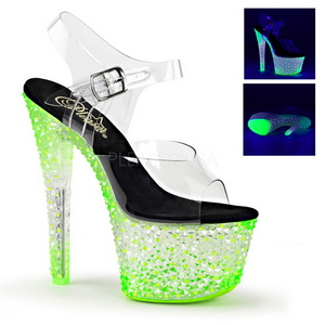 Zöld Neon 18 cm Pleaser CRYSTALIZE-308PS Platform Magassarkú