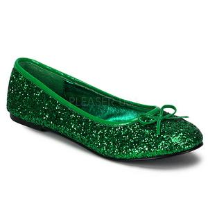 Zöld STAR-16G Csillámos Lapos Balerina Cipők Női