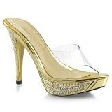 Arany 11,5 cm ELEGANT-401 Strasszköves platform női papucs