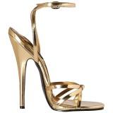 Arany 15 cm Devious DOMINA-108 női magassarkú szandál