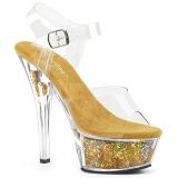 Arany 15 cm KISS-208GF csillámos platform szandal női
