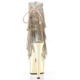 Arany 18 cm ADORE-1017RSF női rojtos bokacsizma a magassarkű