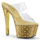 Arany 18 cm BEJEWELED-702SP Csillogó Kövekkel Platform Cipők