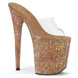 Arany 20 cm FLAMINGO-801LG csillámos platform női papucs