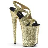 Arany 23 cm INFINITY-930LG csillámos platform magassarkű női