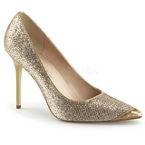 Arany Csillámos 10 cm CLASSIQUE-20 Körömcipők Tűsarkú Magas Cipők