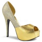 Arany Csillámos 14,5 cm Burlesque TEEZE-41W széles lábak körömcipők férfi