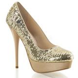 Arany Flitterekkel 13,5 cm GORGEOUS-20SQ Körömcipők magas cipők