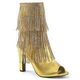 Arany Műbőr 10 cm QUEEN-100 nagy méretek bokacsizma női