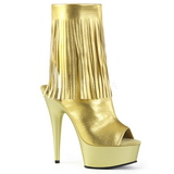 Arany Műbőr 15 cm DELIGHT-1019 női rojtos bokacsizma a magassarkű