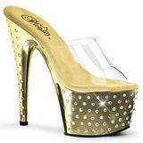 Arany Strasszköves Platform 18 cm STARDUST-701 Papucs Női Cipők