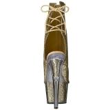 Arany csillámos 18 cm ADORE-1018G női platform bokacsizma