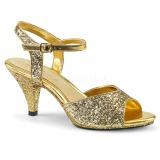 Arany csillámos 8 cm BELLE-309G transzvesztita magassarkű cipő
