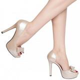 Bézs Lakk 12 cm LUMINA-32 Körömcipők magas cipők