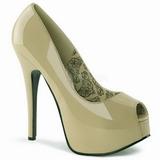 Bézs Lakk 14,5 cm Burlesque TEEZE-22 Körömcipők Tűsarkú Cipő