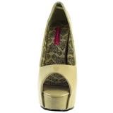 Bézs Lakk 14,5 cm Burlesque TEEZE-22 Körömcipők Tűsarkú Magas Cipők
