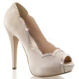 Bézs Szatén 13 cm LOLITA-05 Körömcipők magas cipők