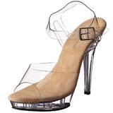 Bézs Átlátszó 13 cm LIP-108 Platform Magassarkú Cipők