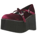 Burgundia Bársony 11,5 cm KERA-10 Platform Gótikus Cipők