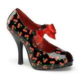 Cseresznye Minta Fekete 12 cm CUTIEPIE-07 Női Körömcipők